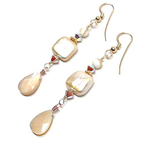 Mother-of-Pearl Shell Briolette Gold-Filled Pierced Earrings Pale Peach Cultured Pearl Square