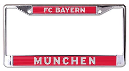 Wincraft FC Bayern Munich Premium License Plate Frame, Metal with Inlaid Acrylic, - Clock Munich