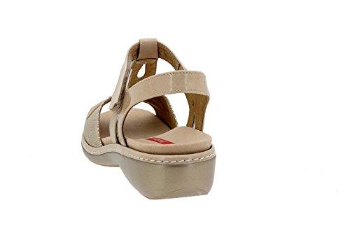 Calzado mujer confort de piel Piesanto 8820 sandalia velcro plantilla extraíble cómodo ancho Duna