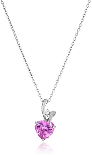 Shape Pink Sapphire Gemstone - Sterling Silver Heart Shape Created Pink Sapphire Center Stone Pendant Necklace