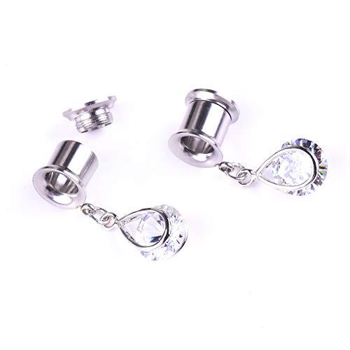 Women Waterdrop Rhinestone Earring Flesh Tunnel Expander Ear Piercing Jewelry Gift ()