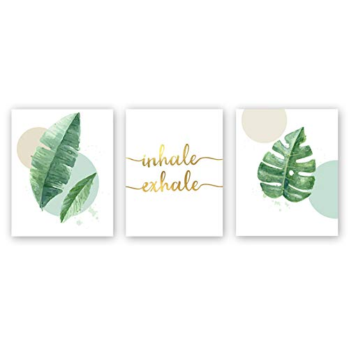 Sanrx Watercolor Green Leaf Print&Inhale Exhale Quote Gold Foil Print, Botanical Painting Yoga Room Cardstock Art Poster Wall Decor (Set of 3, 8'' x -