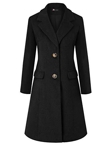 KANCY KOLE Long Sleeve Lapel Collar Single Breasted Wool Blend Trench Coat(2XL,Black)