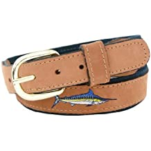 Zep-Pro Men's Tan Leather Embroidered Marlin Belt