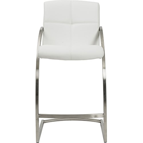 MIX Brushed Stainless Steel Faux Leather White 26-inch Seat Height Stationary Bar Stool (26 Inch Stationary Bar Stool)