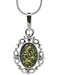 925 Sterling Silver Filigree Pendant Necklace with Genuine Natural Baltic Amber. Chain included