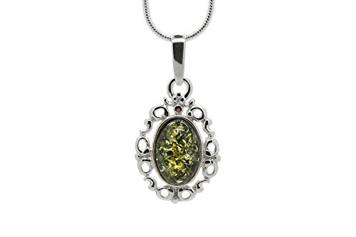 Amber Jewelry Box (925 Sterling Silver Filigree Pendant Necklace with Genuine Natural Baltic Green Amber. Chain included)