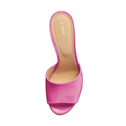 Ydn Kvinder Høje Hæle Platform Muldyr Peep Toe Træsko Slip På Kile Sandaler Glide Sko Pink sXRtKA6fC