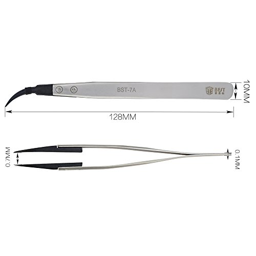BES ESD Replacement Tweezers Antistatic Stainless Steel Curved Tip for Industrial Electrical Lab Science Hobbies BST-7A