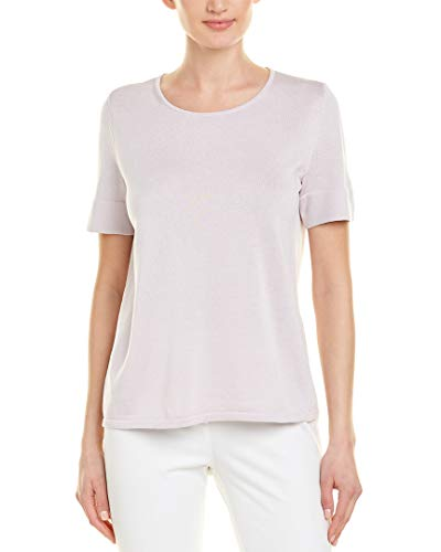 Lafayette 148 Womens New York Short Sleeve Silk-Blend Sweater, L, Purple from Lafayette 148