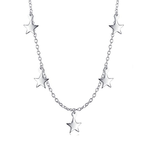 Sterling Silver Dangling Stars Choker - Gold Custom Pendant Jewelry White