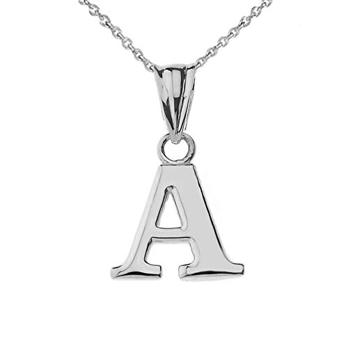 - Fine Personalized Initial A Charm Pendant Necklace in Solid Sterling Silver, 16