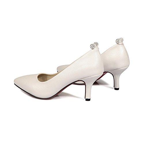 BalaMasa Ladies Rhinestones Low-Cut Uppers Pointed-Toe Urethane Pumps Shoes White AJEVXi