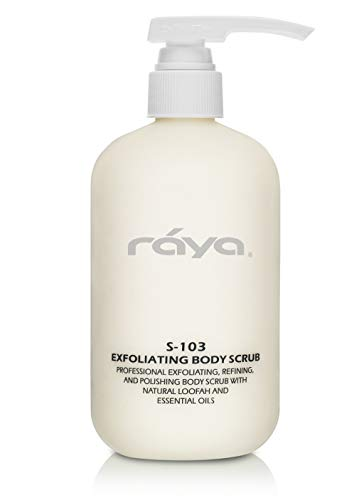 RAYA Exfoliating Body Scrub 16 oz (S-103) | Exfoliating, Refining, and Polishing Body Scrub | Made with Natural Loofah and Essential Oils | Relieves Ingrown Hairs