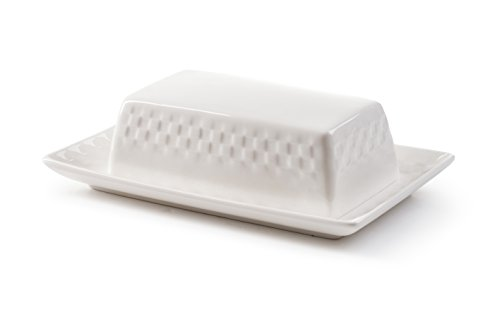 ROSCHER Basketweave Butter Dish (White Porcelain) Textured Surface, 2-Piece Cover and Plate Set | Modern Serving and Storage | Kitchen, Refrigerator, Dining Room Use
