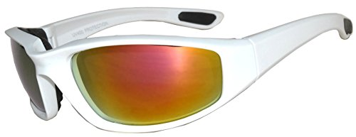 Womens Pink Padded Foam Motorcycle Biker Glasses Goggles 99% UV protection (White-Mirror, Colored)