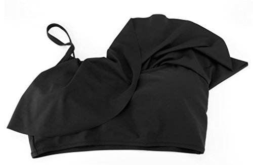EasyMy Mujeres Lindo Traje de Baño Correa Traje de Baño Top Flounce Bikini Negro-1