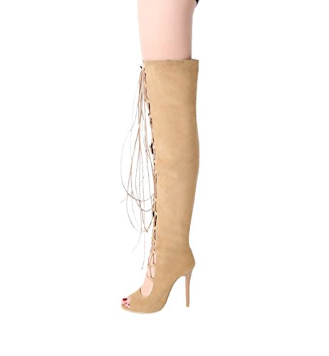 CHENYANG Womens High Heel Hollow Peep Toe Lace up Open Long Shoe Boots Yellow vFnLoKog1j