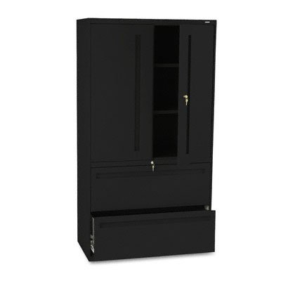 HON 2-Drawer with 3 Shelves Office Filing Cabinet - Brigade 700 Series Lateral File Cabinet, 36'' Wide, Black (H795LS)