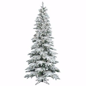 Vickerman Flocked Slim Utica Tree with Dura-Lit 300 Clear Lights, 6.5-Feet by 39-Inch Artificial Flocked Christmas Trees