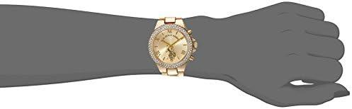Amazon.com: U.S. Polo Assn. Women's Gold-Tone Analog-Quartz Watch with Alloy Strap, 8 (Model: USC40032AZ): Watches