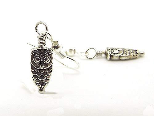 Tiny Silver Toned Owl Drop Earrings