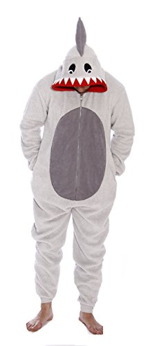 #followme 6425-L-Shark Adult Onesie Men's Pajamas -