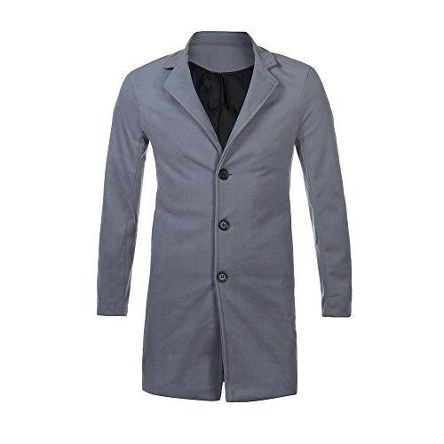 Hommes Gris Long Morchan Figuring Veste Laine Clair Formel Outwear En Boutonnage Simple Pardessus dwwORU