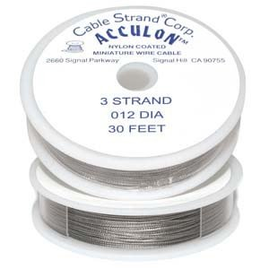 Acculon Tigertail Beading Wire Fine 3 Strand .012 30ft (Tiger Tail Cord)