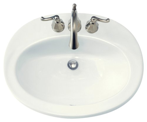 American Standard 0478.403.020 Piazza Self Rimming Front Overflow Countertop Sink with 4-Inch Centers, White