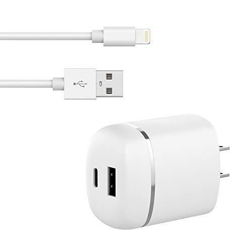 TalkWorks USB Wall Charger 27W/5.4A Power Delivery (PD) Dual Port [USB C & USB A] with 5ft Lightning Cable [Apple MFI Certified] for iPhone Xs/XS Max/XR/X / 8/7 / 6 / SE / 5 / iPad - White