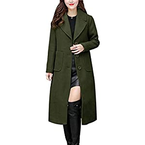 chouyatou Women's Big Notch Lapel Single Breasted Mid-Long Wool Blend Coat