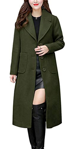 chouyatou Women's Big Notch Lapel Single Breasted Mid-Long Wool Blend Coat (Large, Army Green) (Pea Military Women Coat)
