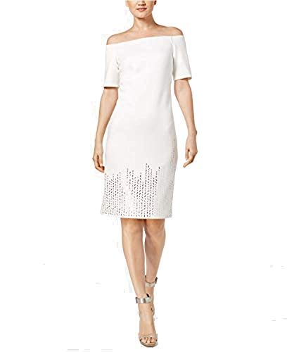 Studded Shoulder Dress - Calvin Klein Women's Off-The-Shoulder Studded Sheath Dress Cream 4