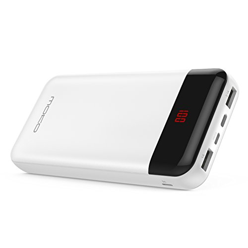 MoKo 20000mAh Power Bank, High Capacity Portable Battery Pack with 2 USB Ports, 3 Inputs( Lightning & Micro USB & Type-C ), for iPhone X/8/8 Plus, Samsung Galaxy S9/S9+/S8/Note 8, ipad Pro 10.5, White