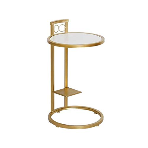 L-Life End Tables Side Table Wrought Iron Solid Wood Golden Small Round Coffee Table, Simple Leisure Side Table Living Room Balcony Reading Table (Color : White Solid Wood)