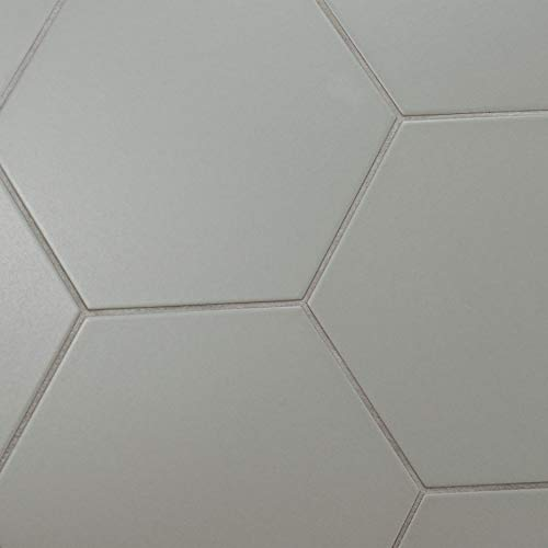 SomerTile FCD10STX Abrique Hex Porcelain Floor and Wall, 8.63'' x 9.88'', Silver Tile 8.625'' x 9.875'' 25 Piece by SOMERTILE (Image #3)