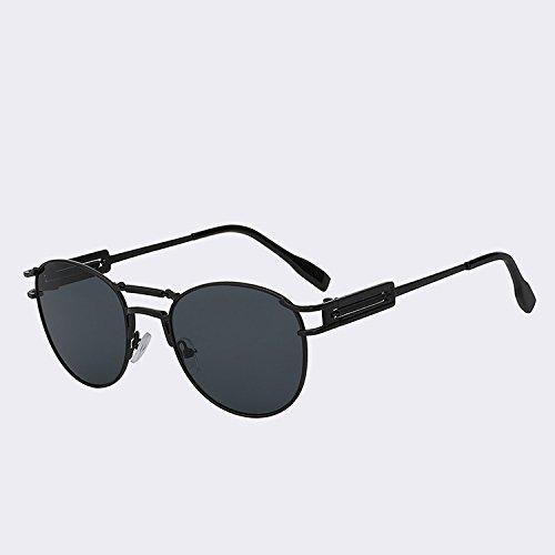 metálicas UV400 w dobles moda para Steampunk TIANLIANG04 de Black hombre latón calidad Vintage Oculos lente vigas marrón hombres del lens de Gafas black gafas Gafas alta de de W sol qwXXRI
