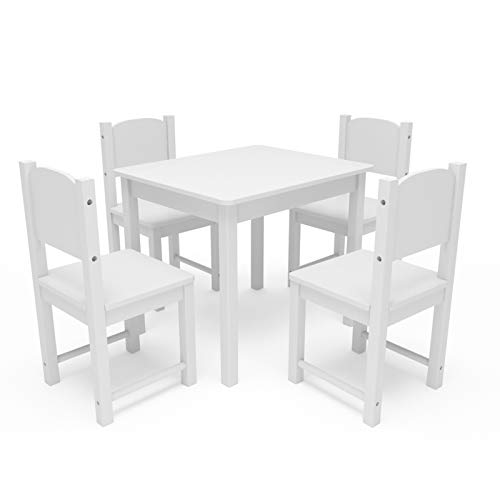 Timy Wooden Kids Table and 4 Chairs Set, Kids Furniture Toddler Table Play Room for Eating, Reading, Playing White (Chair Size Wooden Child)
