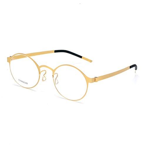 SO SMOOTH WIND B-Titanium Glasses Ultra Light Eyeglasses Frame Round Shape Screwless Glasses Frame Prescription Eyewear Frame R1104 (Golden, Demo clear - Screwless Eyewear