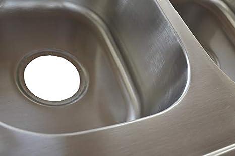 1x Einbausp/üle Edelstahl 304 Sp/ülbecken rund 1 Becken mit Ablaufganitur Sp/üle 44cm