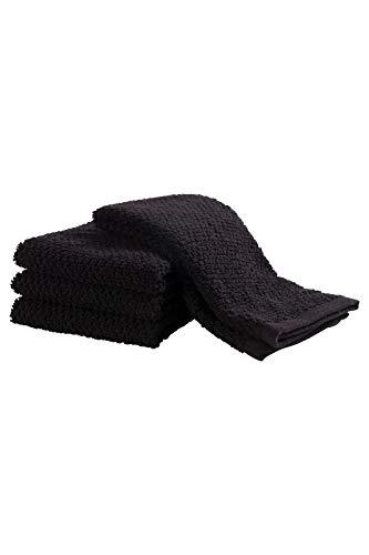 KAF Home KT 41706 Popcorn Terry, Set of 4 Bar Mop Kitchen Towels, Black