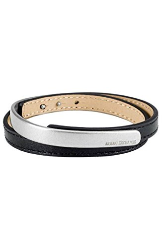 Armani Exchange AX Mens Mixed Leather Wrap Bracelet (Armani Bracelet)