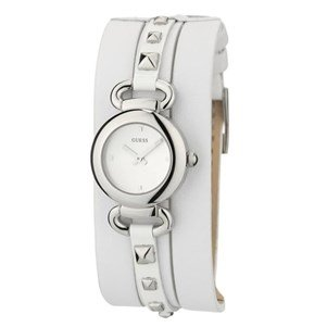 Guess W0160L1 Ladies Watch White Leather Band Stud Detail