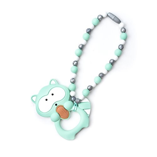 Nummy Beads Mint Raccoon Teether Toy Attaches To Baby Carrier, Car Seat, High Chair, Stroller or Diaper Bag (Stroller Mint)