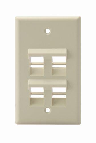 (Leviton 41081-4IP Angled QuickPort Wallplate 4-Port, Single Gang, Ivory)