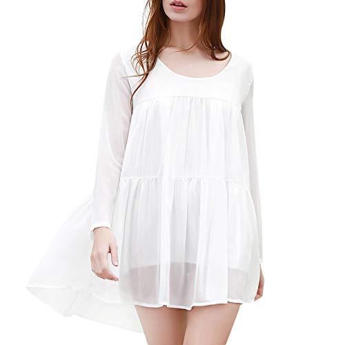 IPHUNGO ZAFUL Long Sleeved Smock Dress (White)