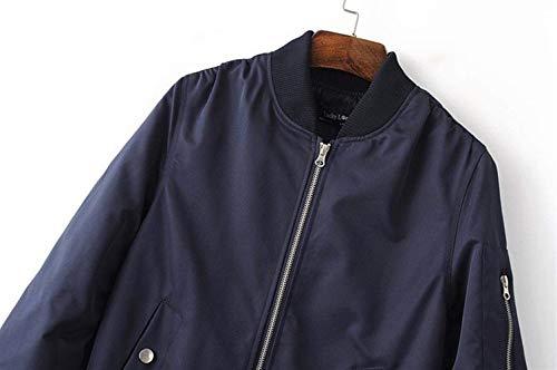 Elegante Moda Donna Navy Biker Collo Cappotto Lunga Manica Monocromo Bomber Giacca Corto Jacket Cerniera Chic Con Alta Vita Autunno Di Cute Pilot Coreana nxBBpErw