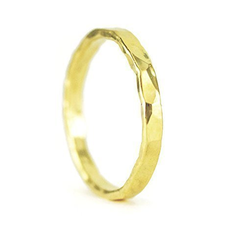 fa6a040159d866 Amazon.com: 22k Gold Wedding Band - 2.5 mm Wide Hammered Gold Ring: Handmade