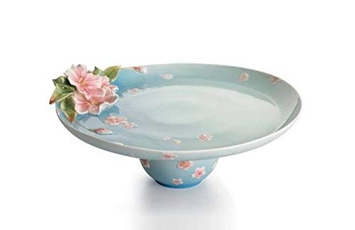 - Franz Cherry Blossom Flower Design Sculptured Porcelain Cake Plate